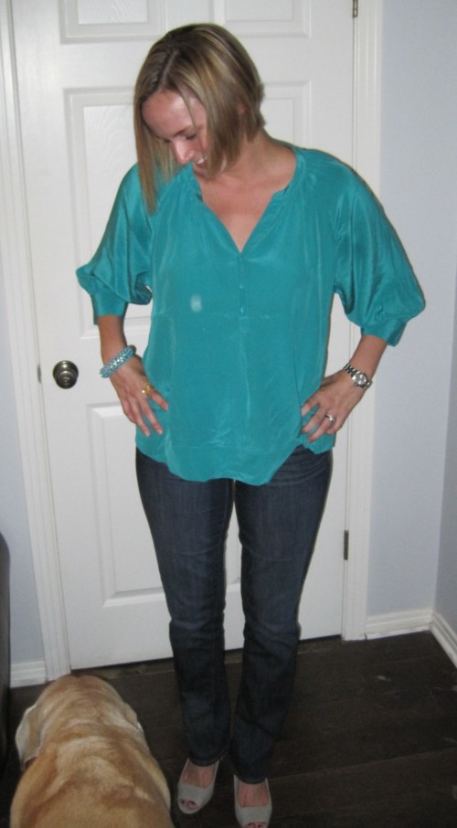 Shirt: Joie, Jeans: GAP, Shoes: Banana Republic, Bracelet: Gilt, Dog: Duke
